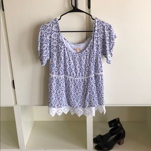 Skies are Blue - off the shoulder blouse
